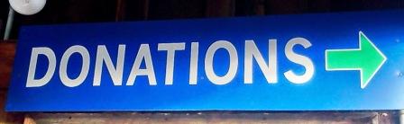 Donations Signage at Restore
